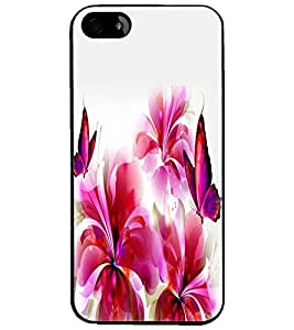 PrintDhaba Butterfly and Flowers D-2387 Back Case Cover for APPLE IPHONE 5S (Multi-Coloured)