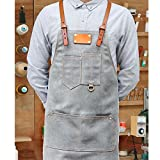 Lqchl Denim Gray Canvas Bib Apron Leather Strap Barber Barista Florist Cafe Chef Uniform Tattoo Shop Carpenter Work Wear
