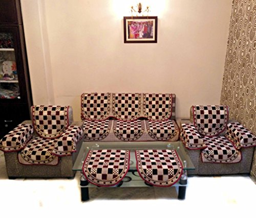 GOLD CHECK MAROON POLYCOTTON SOFA SLIPCOVER SET WITH 6 ARMS COVER