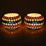 EarthenMetal Handcrafted Multi-coloured Glass Candle Light Holder- Set Of 2