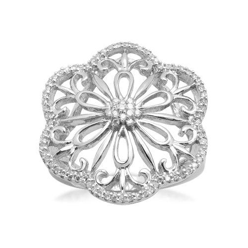 Sterling Silver Flower Diamond Ring (1/4 cttw, I-J Color, I2-I3 Clarity), Size 7