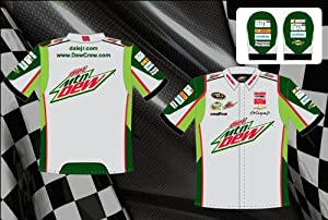 Dale Earnhardt Jr. Diet Mountain Dew Mens Grey Embroidered Nascar Pit Crew Shirt by RacingGifts