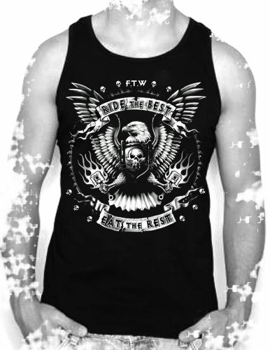 Biker,tattoo,motorcycle,forever two wheels slogan,mens vest top,(S)