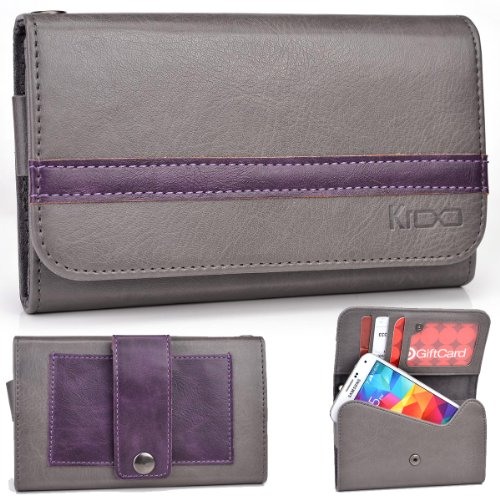 Exxist® Graphite Series. Patent Leather Women'S Wallet / Clutch For Archos 43 Internet (Color: Grey / Purple Stripe) -Esmlgpe1