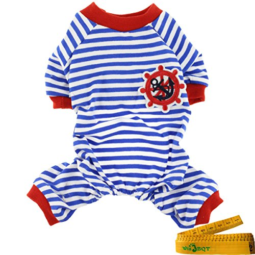 Comfy Soft Elastic Navy Striped Cotton Dog Pet Pajamas Jumpsuit Apparel Clothes (M, Blue & White) (Dog Jumpsuit Winter With Feet compare prices)