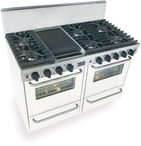 """48"""" Pro-Style Lp Gas Range With 6 Sealed Ultra High-Low Burners 2.92 Cu. Ft. Convection Ovens Manual Clean Broiler Ovens And Double Sided Grill/Griddle"""