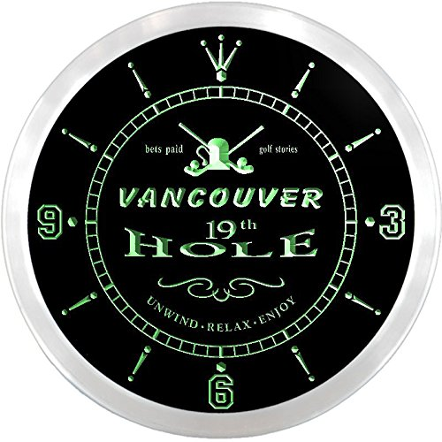 Ncpi2195-G Vancouver Golf 19Th Hole Pub Bar Beer Led Neon Sign Wall Clock
