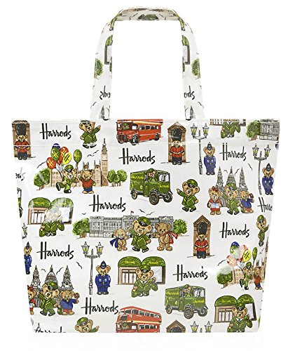英国 Harrods(ハロッズ) トートバッグ ロンドンベア Sサイズ Green Man & London Bears Shopper Bag 【並行輸入品】