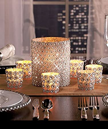 Elegant Beaded Sparkling Gems Embellished 7-Pc. Pillar & Votive Candle Holder Set by KNL Store