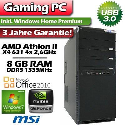 PC Gaming GT520 Win7 Home Premium - AMD Athlon II X4 631 4 x 2,6GHz - 8GB DDR3 RAM - 750GB S-ATA II Festplatte - MSI A75MA-P35 - nVidia GeForce GT520 PASSIV (lautlos) 2GB DDR3 - 7.1 HD Sound - GigaBit LAN - 420W Supersilent Netzteil - 22x DVD±RW - 4x Front USB - sehr leise und energieeffizient - inkl. Vollversion Windows 7 Home Premium!
