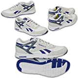 Mens REEBOK Trainers Leather Look Shoes Record Mile Lace Up Walking Running New