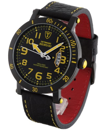 DeTomaso Men's Quartz Watch with Black Dial Analogue Display and Black Leather Strap DT1003-D