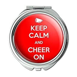 Keep Calm And Cheer On Cheerleading Compact Purse Mirror