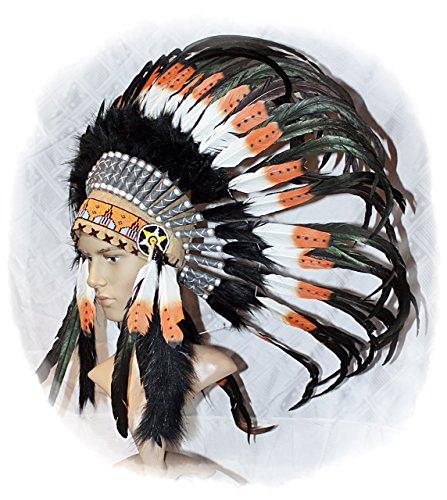 Indianer Kopfschmuck Federhaube sehr EDEL echte Federn SCHWARZ-BRAUN-WEISS Federschmuck Fotoshooting