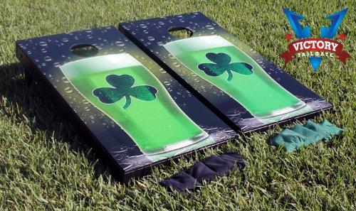 Green Beer Shamrock Cornhole Game Set