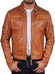 Brandslock Vintage Men\'s Leather Biker Jacket Slim Fit Outwear Small Tan