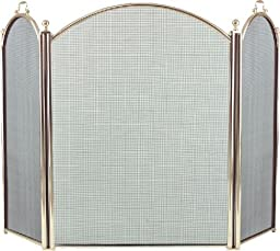 3 Fold Arched Polished Brass Screen - 34 inch