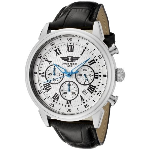 I By Invicta Men's 90242-002 Chronograph Silver Dial Black Leather Watch