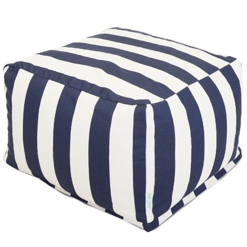 Majestic Home Goods Vertical Stripe Ottoman, Large, Navy Blue front-756408
