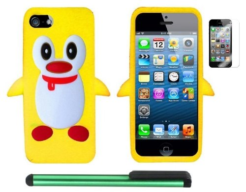 #>>  Yellow Penguin Move On Future Silicone Skin Premium Design Protector Soft Cover Case Compatible for Apple Iphone 5 (AT&T, VERIZON, SPRINT) + Screen Protector Film + Combination 1 of New Metal Stylus Touch Screen Pen (4
