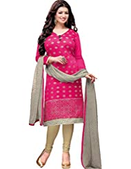 The Fashion World Pink Color Embroidery Worked Dress Material Crafted On Chanderi Cotton Fabric