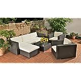 CLP XL Gartengarnitur 3-1-1 aus Polyrattan & Aluminium, inkl. 6 cm dicken Sitz- & Rückenkissen (aus bis zu 4 Rattan-Farben wählen) schwarz