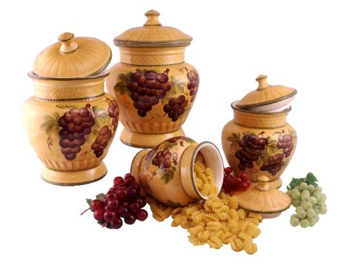 4PC CANISTER SET,CANISTERS TUSCANY GRAPE WINE DECOR