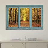 Wall26 - Vintage Teal Window Looking Out Into an Orange Forest During the Fall - Canvas Art Home Decor - 36x48 inches