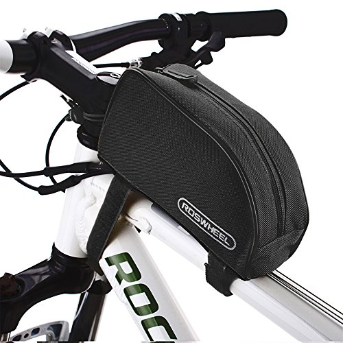 Roswheel® 12654 1L Outdoor Mountain Bicycle Cycling Frame Front Top PVC Tube Bag Bike Pouch (All Black) (Cycling Bags compare prices)