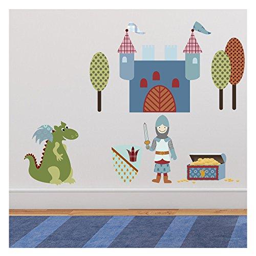 wandtattoo sticker set ritter spannendes wandbild f r das kinderzimmer erh ltlich in 3 gr en. Black Bedroom Furniture Sets. Home Design Ideas