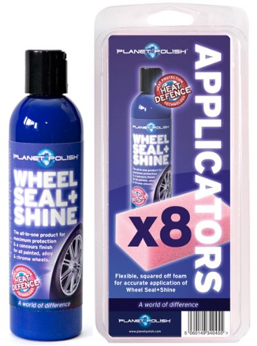 Planet Polish Wheel Seal + Shine 250ml, complete with pack of 8 Applicators. The perfect solution for your wheels.