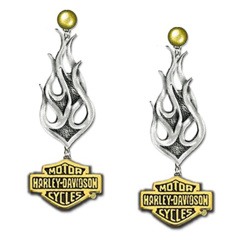 Sterling Silver Harley-Davidson Ladies Tribal Earrings