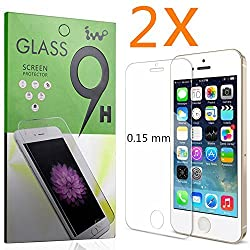 (2 Pack) Iphone 5 Screen Protector, IVVO [0.15mm] Ultimate Premium Tempered Glass Screen Protector for Iphone 5s / Iphone 5c / Iphone 5