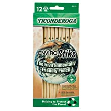 Ticonderoga EnviroStik, No. 2 Soft, Six 12-Count Hang Tab Boxes, Total 72 Pencils, (Wood-Cased Black Writing), Made from Recycled Content, 100% Recyclable (96212)