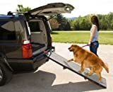 Pet Gear Tri-Fold Ramp 71 inch Extra Wide Pet Ramp Holds 200LBS, Black/Gray, not carpeted