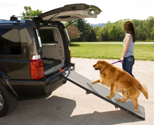 Pet Gear Tri-Fold Pet Ramp For Cats And Dogs Up To 200-Pounds, Grey front-52145