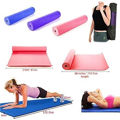 JJOnlineStore - Dicke gepolsterte Yogamatte, Länge 173 cm, Breite 61 cm, Dicke 6 mm, Leibesübungen, Gymnastik, Pilates - Tragetasche gratis