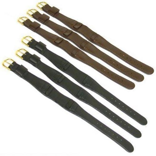 6 Wide Black & Brown Leather Cuff Wrist Watch Bands