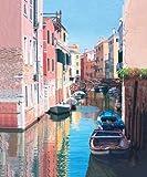 ヴェネツィア、運河リフレクションズ - アーカイブ紙上のファインアートプリント - 大 : 94 cms X 114 cms