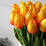 10PCS Wedding Decor PU Tulip Artificial Wedding Home Design Bouquet Flowers (orange)