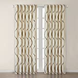 "Serendipity Polyester Window Panel Color: Ivory, Size: 50"" H x 95"" W"