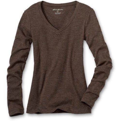 Eddie Bauer Favorite Long Sleeve V-Neck T-Shirt, Dark Brown Heather XXL Regular