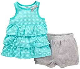 Carter\'s 2 Piece Dot Print Shorts Set (Baby) - Turquoise-24 Months