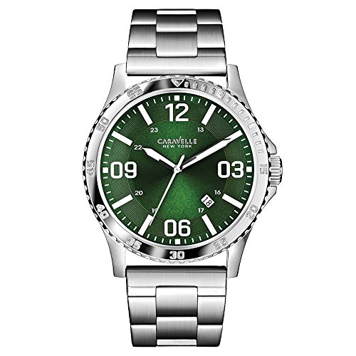 Carvelle New York Men's Quartz Watch with Green Dial Analogue Display and Silver Stainless Steel Bracelet - 43B129