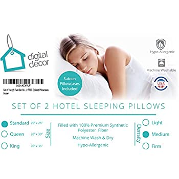 Set of Two (2) Five-Star Hotel Collection Premium Gold Down Alternative Sleeping Pillows PLUS 2 FREE Pillowcases