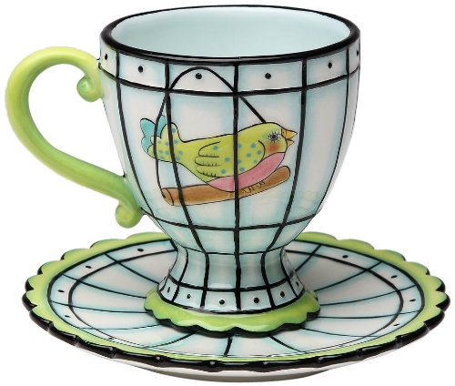 Appletree Design Flights of Fancy Bird Cup/Saucer Set, 3-1/2-Inch