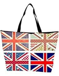 Snoogg 4 Cute British Flags In Shabby Chic Floral And Vintage Style Waterproof Bag Made Of High Strength Nylon