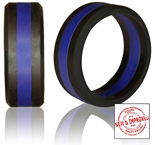 Silicone Wedding Ring by Knot Theory (Black / Blue Line, Size 10.5-11) ★8mm Band for Superior Comfort, Style, and Safety