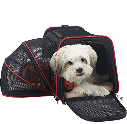 Petsfit 18″x11″x11″ Expandable Foldable Washable Travel Carrier, Airline Approved Pet Carrier Soft-sided(Black)