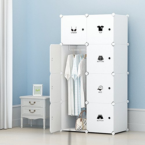 Portable Clothes Closet Wardrobe By KOUSI Freestanding Storage Organizer  With Doors , Large Space And Sturdy Construction.